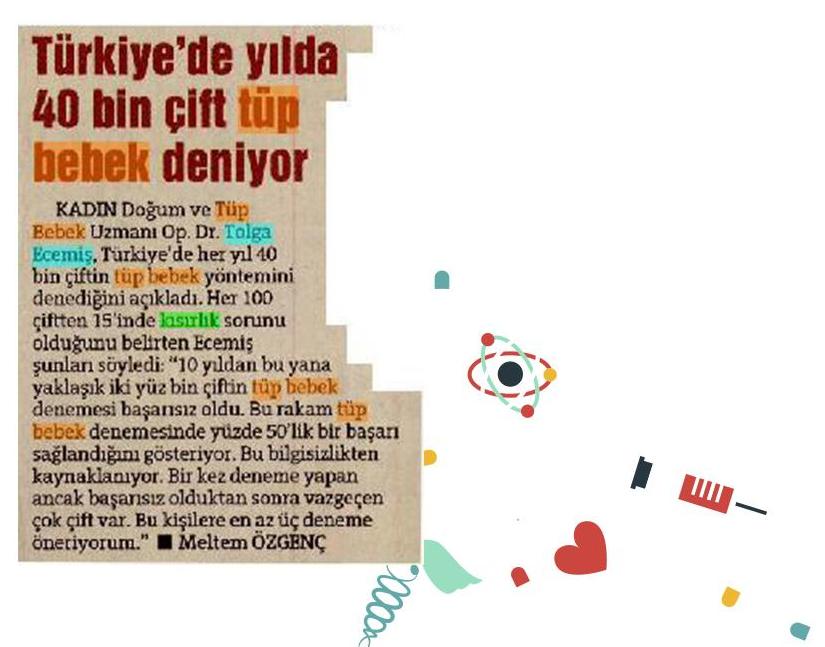 Türkiyede Yılda 40bin Çift Tüp Bebek Deniyor
